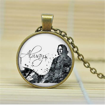 Always Deathly Hallows Necklace Always Snape Necklace Glass Cabochon Necklace 27MM Round Pendant Choker Necklace