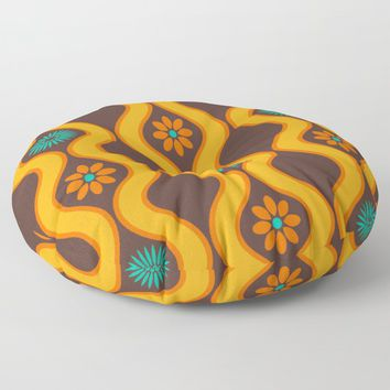 1970's Design Brown Orange Blue Floor Pillow by inspiredimages
