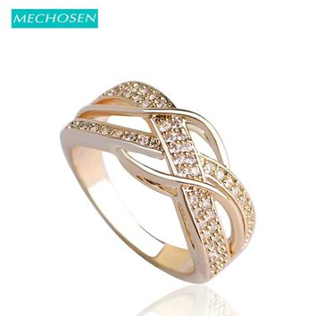 MECHOSEN Kawaii Cubic Zirconia Rings For Women Men Jewelry Bridal Wedding Rings Aneis Gold-color Copper Ring Anillos Mujer Vaz