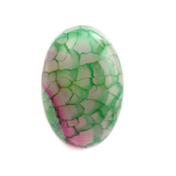 Green and Pink Oval Dragon Vein Agate Cabochon, Focal Bead for Pendant Setting 30mm x 20mm CB199C