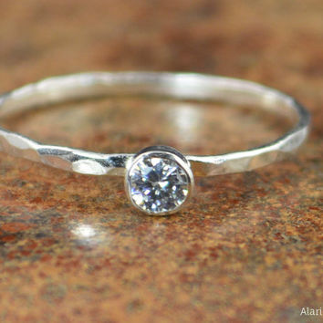 Dainty Silver CZ Diamond Ring