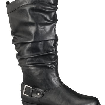 Black Valerie Slouch Boot With Buckle - Black