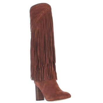I35 Tolla Tall Fringe Studded Boots, Spiced Orange, 5 US