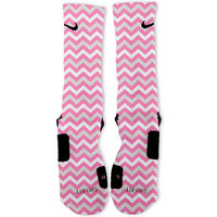 Custom Chevron Pink Nike Elites Socks