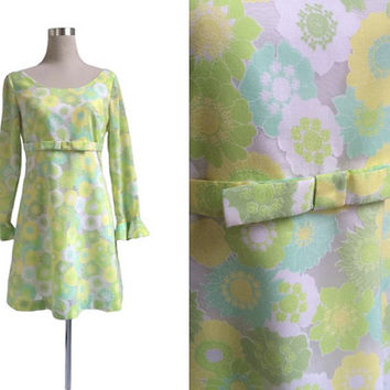 Green Floral Mini Dress - 1960's Vintage Dress - 60's Dress - Semi Translucent Devore - GoGo Retro Mod