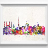 Ashgabat Skyline Print, Turkmenistan Art, Watercolor Painting, Wall Art, City Skyline, Wall Decor, City Poster, Christmas Gift
