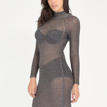 Chic Armor Knit Metallic Midi Dress GoJane.com