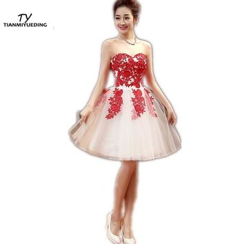 TIANMIYUEDING Short Homecoming Dresses Sweetheart Red Lace Appliques Ruched Tulle Junior Cocktail Party Prom Dress