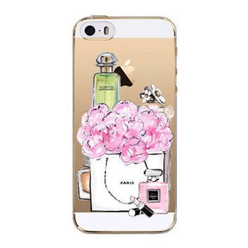 Luxury Perfume Bottle Flowers Roses Floral Transparent Soft Silicone Phone Back Cover Case For iPhone 5 5S SE