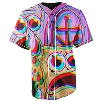 Trippy SpongeBob SquarePants & Squidward Tentacles Purple All Over Full Print 3D Diy Sublimated Cotton & Polyester Blend Unisex Button Up Baseball Jersey