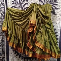 Green Silk Sari Trim 25 Yard Skirt - TS116