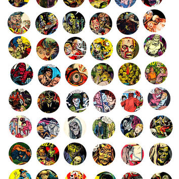 zombie ghouls undead digital images 1 inch circles clip art collage sheet science fiction horror graphics bottle caps pendants pin magnets