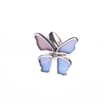 Silver butterfly ring with rainbow moonstone birthstone - Iridescent Blue  Morpho Didius