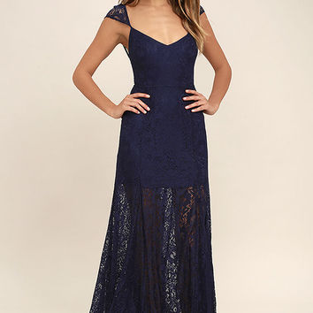 Evening Dreaming Navy Blue Lace Maxi Dress