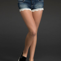 Crochet Lace Hem Jean Shorts