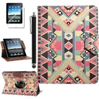 iPad 1 Case,ULAK 360 Rotating Synthetic Leather Card Holder Stand Case Cover for Apple iPad 1 1st Generation with Stylus and Screen Protector (Pattern-BOLD)