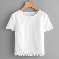Round Neck Short Sleeve Blouse Laser Cut Scallop Hem Plain Top Women Casual Solid Blouse