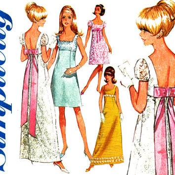 1960s Dress Pattern Bust 31 Simplicity 7117 Evening Cocktail Party Wedding Bridal Prom High Empire Waist Dress Womens Vintage Sewing Pattern