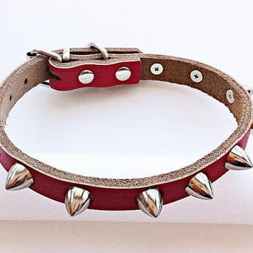 Studded Spiked Dog Collar  -  SMALL Genuine Leather  Pet Accessories