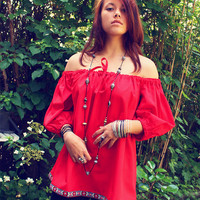 Bohemian top blouse off shoulder shirt puffed sleeves red Boho Hippie style clothing eco-friendly organic OOAK by TheBohemianDream