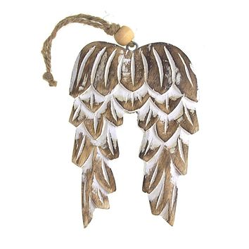 Hanging Mango Wood Angel Wings Christmas Tree Ornament, Natural, 6-Inch