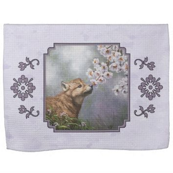 Wolf Pup and Flowers Towel