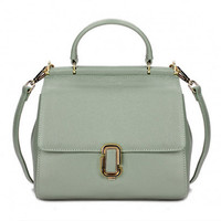 Retro Style Mint Green Leather Tote Bag. Spring Summer Weekend Bag