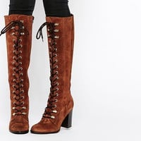 Carvela | Carvela Wander Rust Suede Lace Up Knee Boots at ASOS