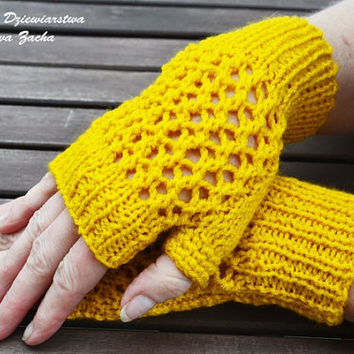 Yellow  Fingerless Mittens , fingerless gloves in handmade , warmers gloves