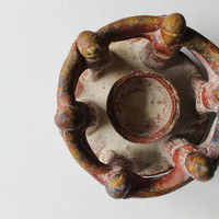 Vintage Circle of Friends Mayan Style Pottery Sculpture Candle Holder