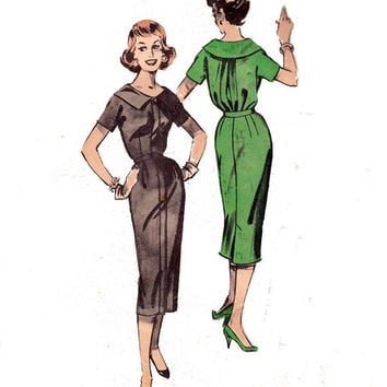 1950s Sheath Dress with Bloused Back Vintage Sewing Pattern Size 16 Bust 36