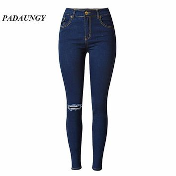 PADAUNGY High Waist Torn Jeans Hole Jegging Ripped Denim Pencil Pants Pantalon Taille Haute Femme Plus Size Trousers Slim Skinny