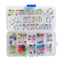 110Pcs Lovely Body Jewellery Piercing Eyebrow Belly Tongue Bar Ring Bulk lots SM6