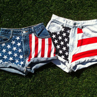 Custom Made to Order: American Flag Denim Shorts