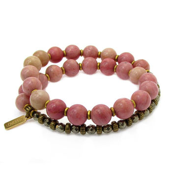 Self love and Confidence, Rhodochrosite and Pyrite 27 bead wrap mala bracelet™