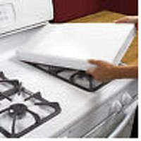 White Rectangular Gas Stove Burner Covers Extra Deep, Fits Most Ranges Set of 2