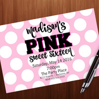 Sweet sixteen party invitation, and decoration Kit, PINK, Secret, Polka dots, 4x6 printable invitation, sweet 16, teen birthday party