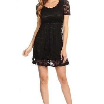 Solid Black Floral Lace Fit & Flare Baby Doll Dress Womens
