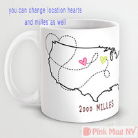 Personalized mug cup designed PinkMugNY - Long Distance Love #2