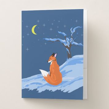 Winter Night Fox Pocket Folder