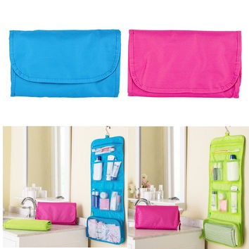 Travel Toiletry Storage Hanging Wash Makeup Cosmetic Case Folding Organizer Bag