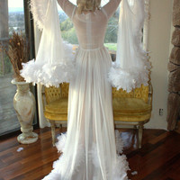 The Hollywood Starlet Dressing Gown Maribou Ostrich Feather Silk Chiffon Sheer Robe Crystal Buttons Any Colors Made to Order Burlesque Diva