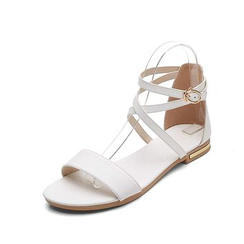 Genuine Leather Strappy Flat Sandals for Women 1118