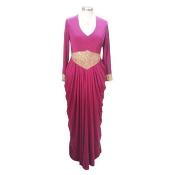 Evening Dresses Long Sleeves V-neck Chiffon Gold Beaded Waist Draped Muslim Prom Party Gown