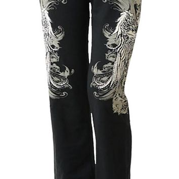 Women Plus Size Black Stretch Sweatpants Pants Wing Gothic Cross Silver Stones