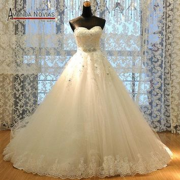 New Lace Designer Real Photos Ball Gown Puffy Wedding Dresses New Patterns