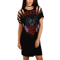 Breathe distressed retro tshirt dress