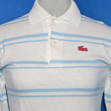 80s Izod Lacoste White Blue Striped Polo Shirt Youth Large