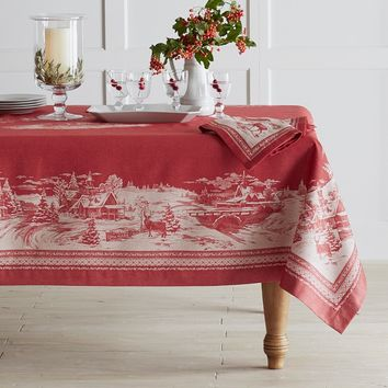 Winter Village Jacquard Tablecloth
