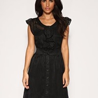 ASOS Frill Front Self Stripe Dress at ASOS
